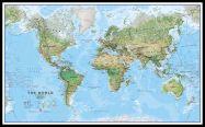 Huge World Wall Map Environmental (Pinboard & framed - Black)