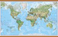 Large World Wall Map Environmental (Wooden hanging bars)