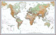 Large World Wall Map Physical White Ocean (Pinboard & framed - Silver)