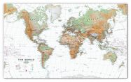 Large World Wall Map Physical White Ocean (Canvas)