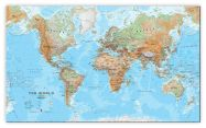 Large World Wall Map Physical (Canvas)