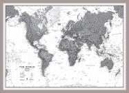 Medium World Wall Map Political Black & White (Pinboard & framed - Silver)