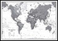 Large World Wall Map Political Black & White (Pinboard & framed - Black)