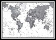 Medium World Wall Map Political Black & White (Pinboard & framed - Black)