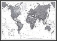 Large World Wall Map Political Black & White (Pinboard & wood frame - Black)