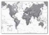 Large World Wall Map Political Black & White (Canvas)