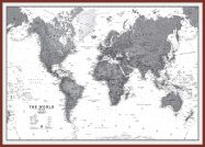 Huge World Wall Map Political Black & White (Pinboard & framed - Dark Oak)