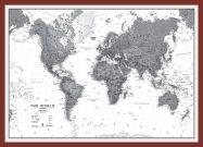 Medium World Wall Map Political Black & White (Pinboard & framed - Dark Oak)