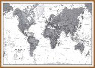 Large World Wall Map Political Black & White (Pinboard & wood frame - Teak)