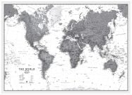 Large World Wall Map Political Black & White (Wood Frame - White)