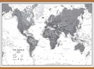 Large World Wall Map Political Black & White (Wooden hanging bars)