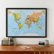 Medium World Wall Map Political (Wood Frame - Black)