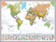 Huge World Wall Map Political with flags White Ocean (Pinboard & framed - Silver)