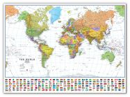 Huge World Wall Map Political with flags White Ocean (Canvas)