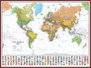 Huge World Wall Map Political with flags White Ocean (Pinboard & framed - Dark Oak)