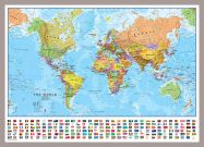 Medium World Wall Map Political with flags (Pinboard & framed - Silver)