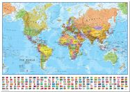 Medium World Wall Map Political with flags (Pinboard)