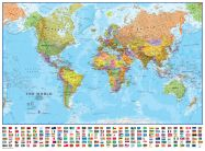 Large World Wall Map Political with flags (Rolled Canvas - No Frame)