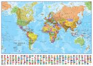 Medium World Wall Map Political with flags (Paper)