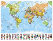 Small World Wall Map Political with flags (Magnetic board and frame)