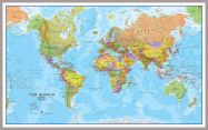 Large World Wall Map Political (Pinboard & framed - Silver)