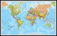 Large World Wall Map Political (Pinboard & framed - Black)