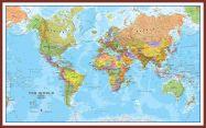 Large World Wall Map Political (Pinboard & framed - Dark Oak)