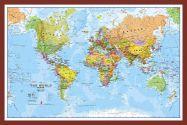 Small World Wall Map Political (Pinboard & framed - Dark Oak)