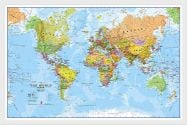 Small World Wall Map Political (Wood Frame - White)
