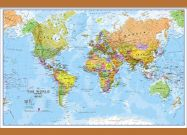 Small World Wall Map Political (Wooden hanging bars)