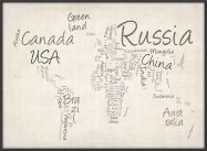 Large Writing Text Map of the World (Wood Frame - Black)