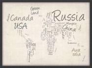 Small Writing Text Map of the World (Pinboard & wood frame - Black)