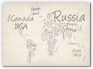 Huge Writing Text Map of the World (Canvas)