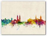 Medium Zurich Switzerland Watercolour Skyline (Canvas)