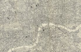 Medium A-Z Historical Canvas Map Central London (Rolled Canvas - No Frame)