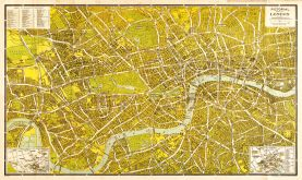 A-Z Pictorial Canvas Map Central London 1938