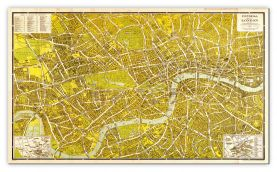 Huge A-Z Pictorial Canvas Map Central London 1938 (Canvas)