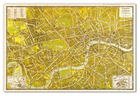Large A-Z Pictorial Canvas Map Central London 1938 (Canvas)