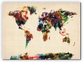 Extra Small Abstract Painting Map of the World  (Canvas)