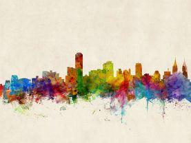 Adelaide Australia Watercolour Skyline