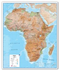 Large Africa Wall Map Physical (Canvas)
