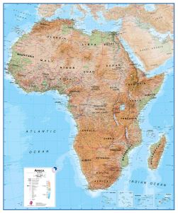 Huge Africa Wall Map Physical (Magnetic board and frame)