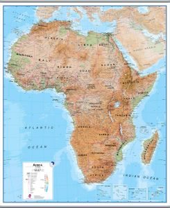 Large Africa Wall Map Physical (Hanging bars)