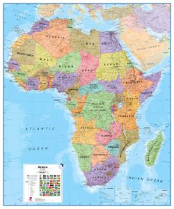 Huge Africa Wall Map Political (Magnetic board and frame)