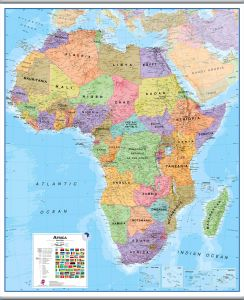 Large Africa Wall Map Political (Hanging bars)