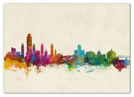 Large Albany New York Watercolour Skyline (Canvas)