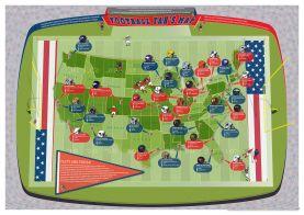 Medium American Football Stadiums Map (Paper Single Side Lamination)