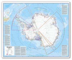 Large Antarctica Wall Map Political (Canvas)