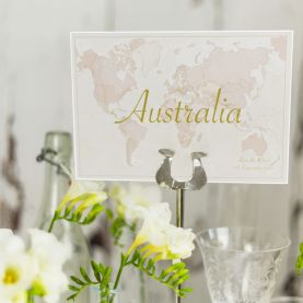 Antique World Countries Wedding Table Name Cards