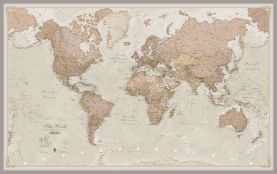 Large Antique World Map (Pinboard & framed - Silver)